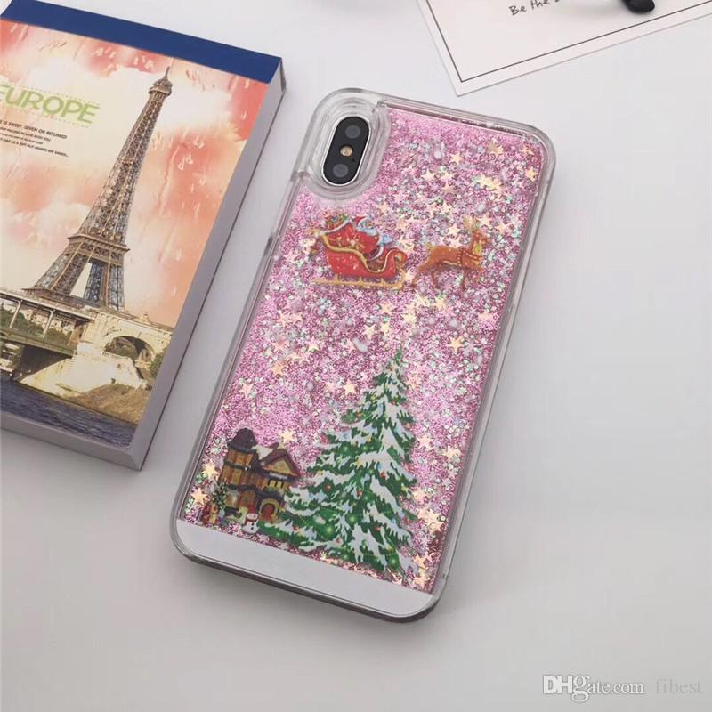 Christmas Phone Case For iPhone X 6 6s 8 Plus 5s Samsung Galaxy S6 Edge Glitter Stars Liquid Quicksand Hard Phone Case Cover