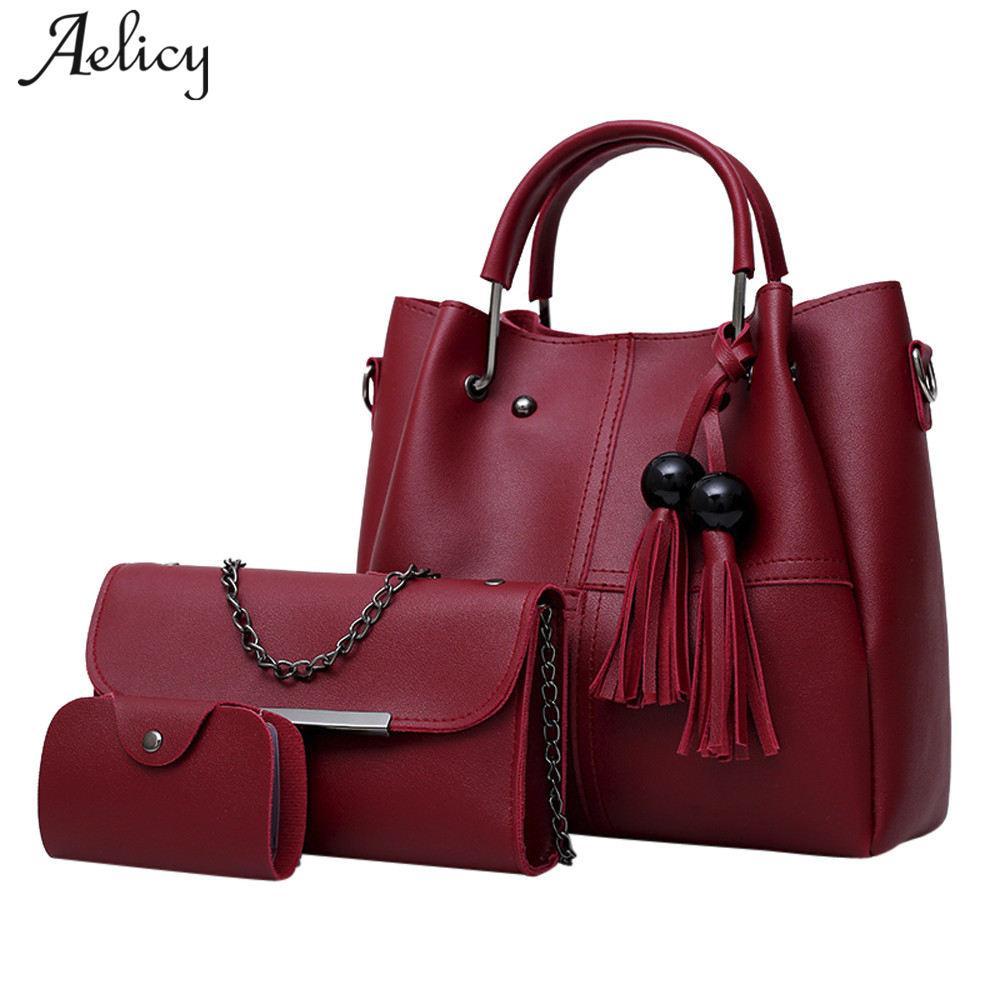 b59c9dfcfc43 Aelicy High Quality 3 Pcs/Set Pu Leather Women Bag Casual Female Handbags  Large Capacity Composite Bag Big Women Shoulder Bags