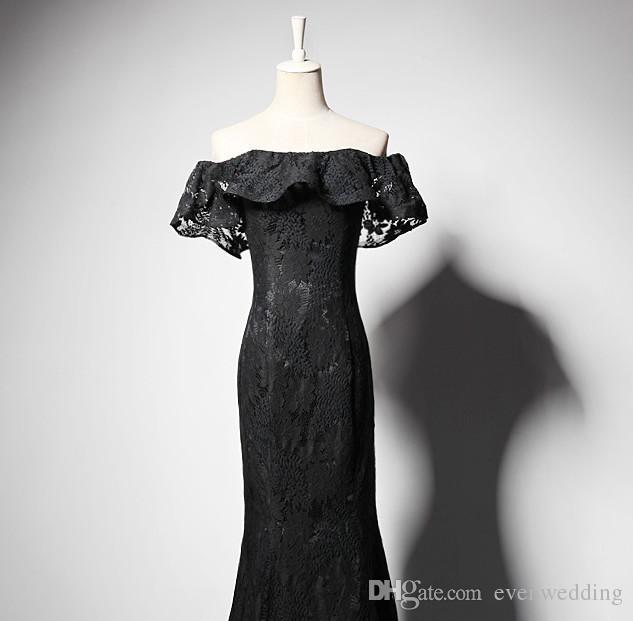 Spitze Meerjungfrau Abendkleider mit gekräuselten Ärmeln Schwarz Schulterfrei Partykleider Neue Lange Abendkleider