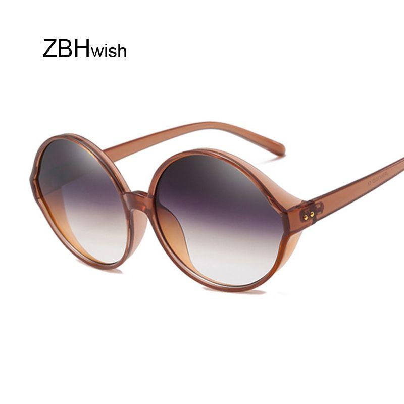 2b88ee68d4c Vintage Round Oversized Lens Mirror Sunglasses Women Brand Designer Metal  Frame Lady Cat Eye Sun Glasses Female Lady Cool Retro Cat Eye Sunglasses  Round ...