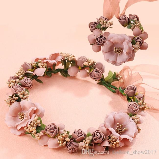 White Women Silk Flower Princess Crown Head Wreath Wristband Set Lady Artificial Foam Flowers Wedding Bridal Crown Bracelet Set