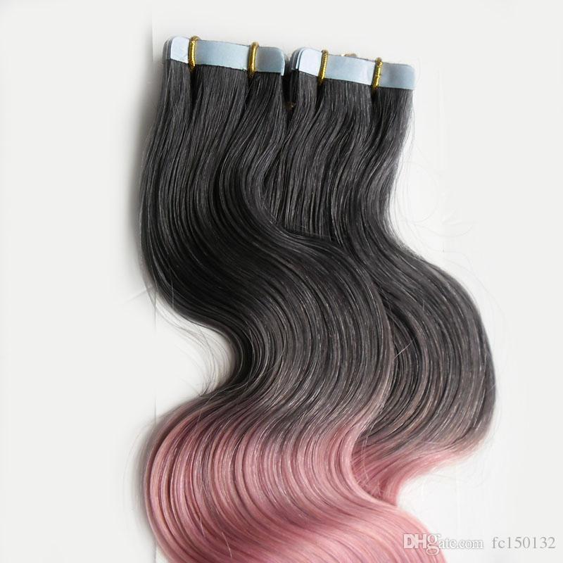 T1B / الشريط الوردي أومبير في الشعر الإنسان 100G الجلد لحمة عذراء الجسم موجة 40 قطعة الشريط اللاصق لملحقات الشعر الشريط