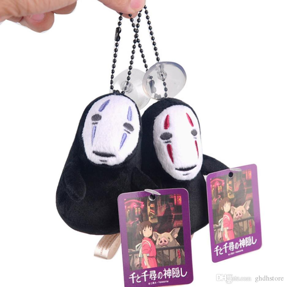"Top New 2 Styles 4"" 10CM Spirited Away Faceless Man No Face Ghost Kaonashi Plush Doll Anime Stuffed Keychains Pendants Gifts Soft Toys"
