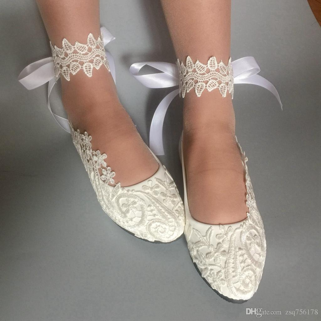 2019 Handmade Women White Ribbon Wedding Shoes Flat Ballet Lace