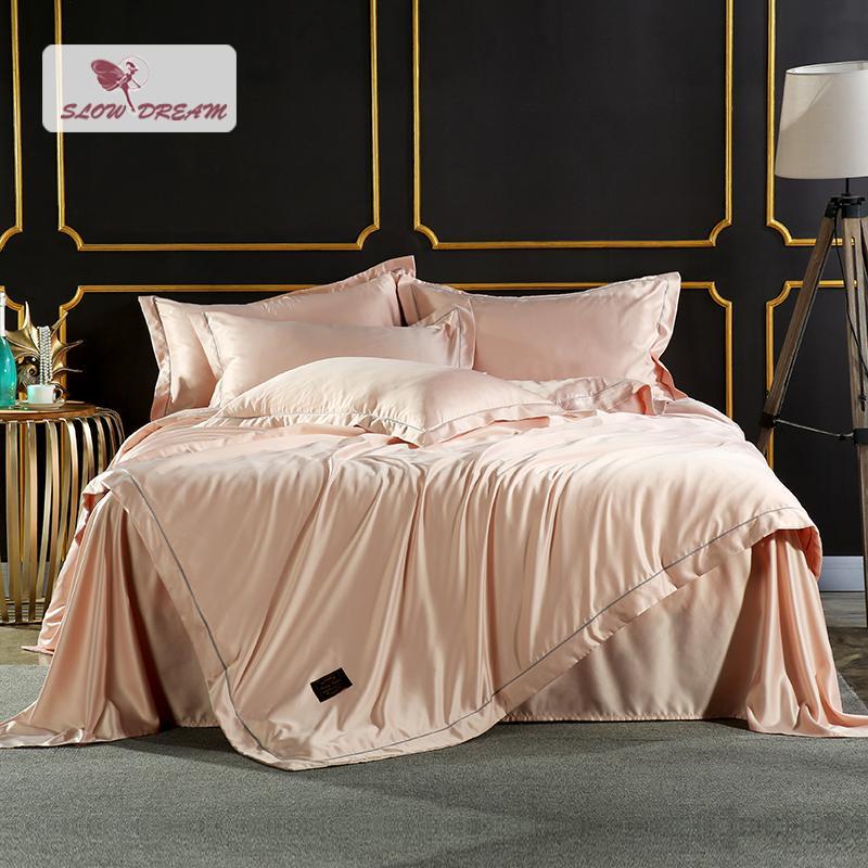 SlowDream Light Luxury Champagne Gold Bedding Set Elegant 100%Slik Active  Printing Comforter For Bedroom Silky Duvet Cover 4 Pcs