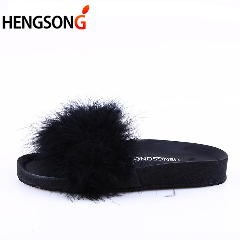 f858db7777b HENGSONG Fur Furry Slide Sweet Feather Thick Bottom Beach Female Sandals  Hair Flip Flops Women Home Slippers Indoor Soft 888888 Buy Shoes Online  Wedge Boots ...