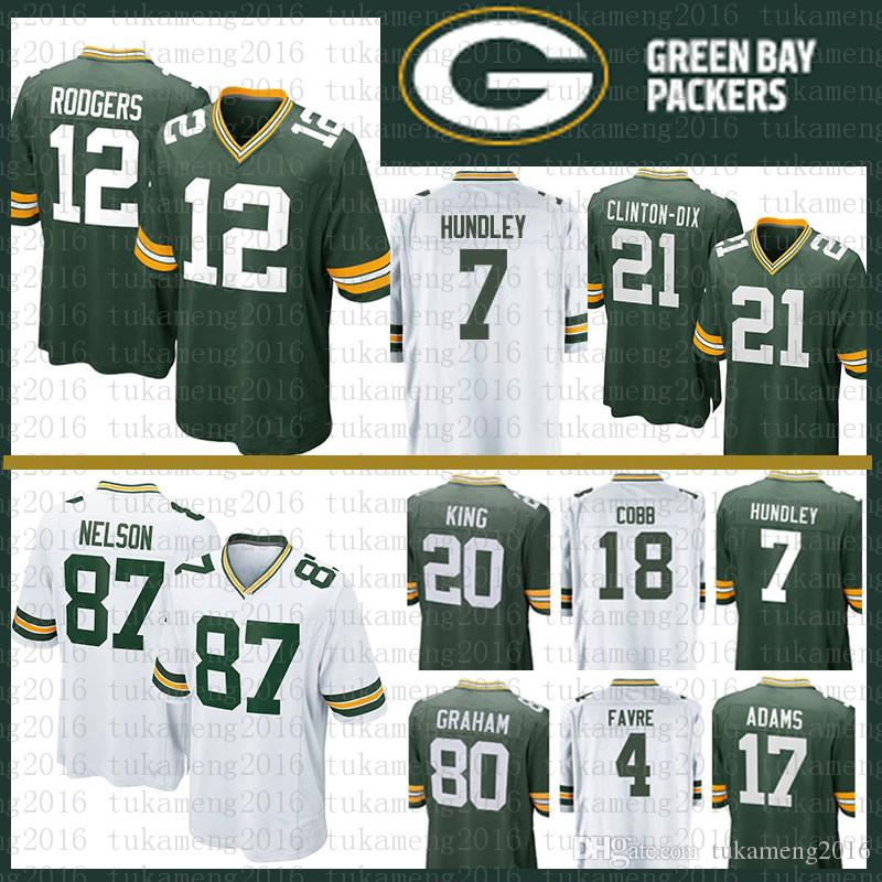 7a3450f2b 2018 12 Aaron Rodgers 17 Davante Adams Green Bays Packers Jersey 21 Clinton  Dix Hundley 87 Jordy Nelson 18 Randall Cobb 20 King 80 Graham 4 Favre From  ...