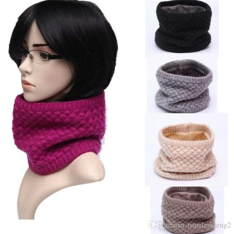 Knitted Woolen Yarn Warm Winter Fleece Scarf Neck Warmer For Women Men Snood Thermal Ski Cycling Ring Wraps Scarves
