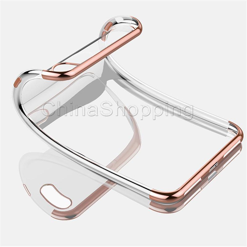 Metal Galvanik Yumuşak TPU Temizle Vaka Jel Silikon Anti-şok Kapak iphone X Xr Xs Max 8 7 6 S Artı Samsung S8 S9 Artı Not 9 8