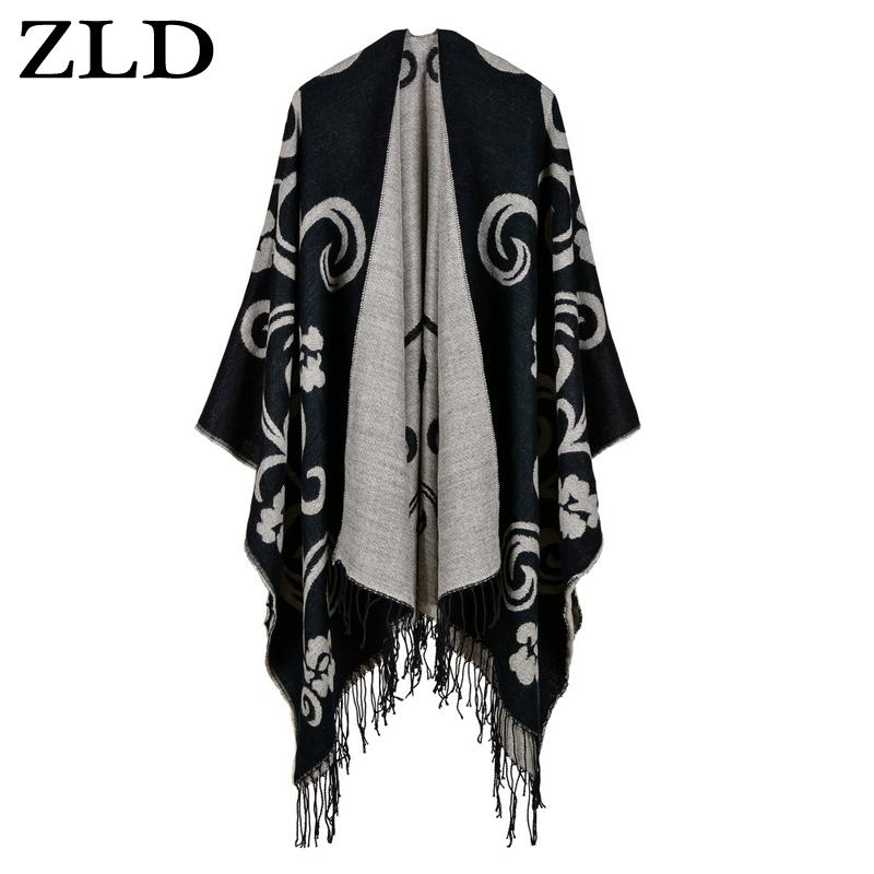 ZLD Autumn Winter Women Knitted Poncho Cape Stars Print Oversized Cardigan Sweater Long Shawl Scarf Elegant Ladies acrylic