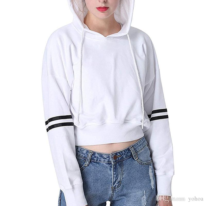 2019 2018 High Quality Fashion Custom Women Crop Hoodies Fashion Crop  Sweatshirts Sexy Bulk Cheap Hoodies And Sweatshirts From Yohoa f129c6b01a