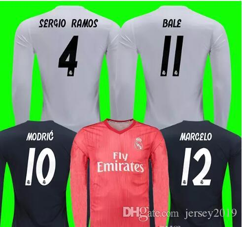 factory price 93ad4 965da 18 19 Real Madrid Long Sleeve Jersey MODRIC BALE 2018 2019 ASENSIO MARIANO  Long Sleeve Soccer Jersey LUCAS V. VINICIUS JR. Long Jersey
