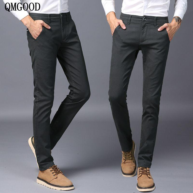 2f1f1f282eaf 2019 QMGOOD 2017 Hot Sales Mens Pants Cotton Slant Pocket Slim Straight  Trousers Elasticity Stretch Fashion Pants Business Casual From Aprili