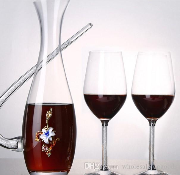 Lead free crystal glass red wine glass winemaker Crystal Drilling Full Color Creative Waking Bottle Falangcai