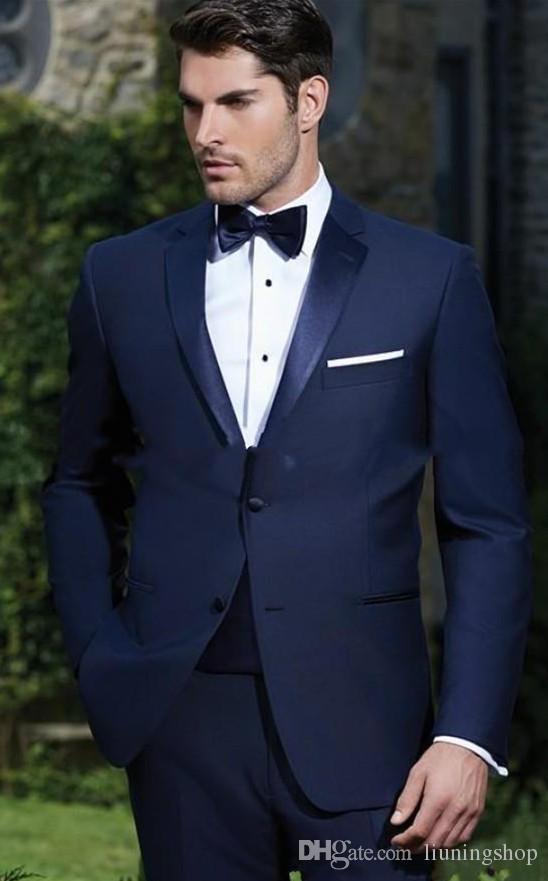Custom Made İki Düğmeler Lacivert Damat Smokin Notch Yaka Groomsmen Mens Gelinlik Giyim Balo Suits