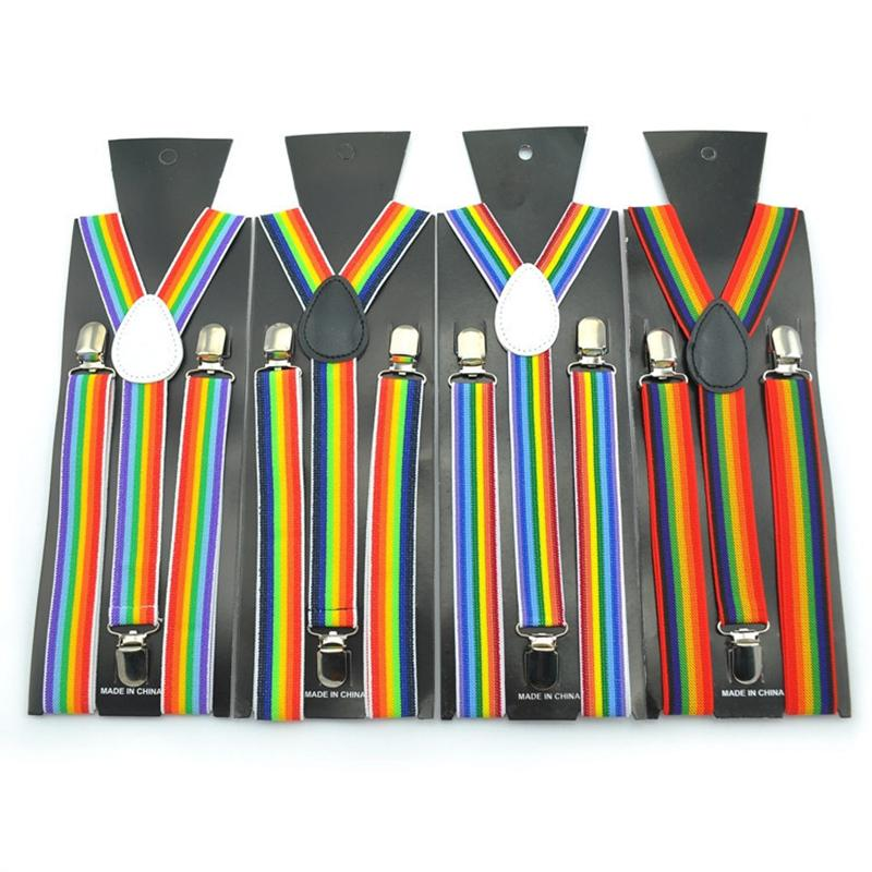 4ad6058ebb1 Unisex Clip On Suspenders Elastic Suspender Seven Color Rainbow Stripe  Pattern Elastic Y Back Suspenders Summer Clothes For Men Suspender Pants  From Naixing ...
