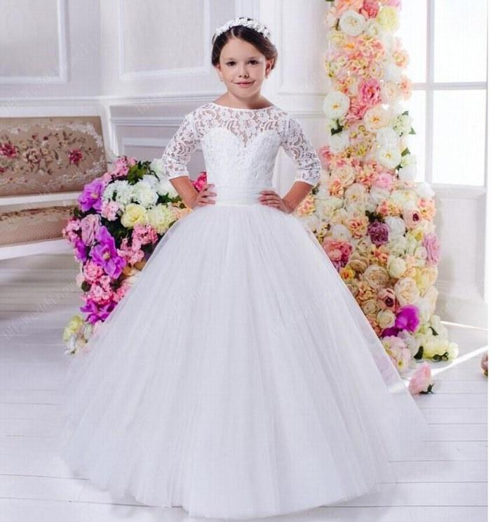 4f3624fec Long Sleeve Lace Flower Girl Dress Wedding Bridesmaid Birthday Kids ...