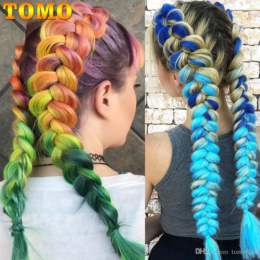 TOMO 24InchSynthetic Braiding Hair Extensions Ombre Kanekalon Jumbo Braid Grey Blue Pink Purple Crochet Hair Braids For Black Or White Woman