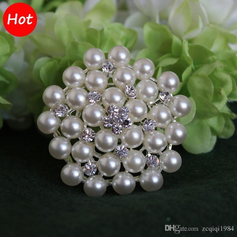 Hotsale Multi-beads Pearl Pin Brooch Bridesmaid Girl Clear Rhinestone Petal Flower Corsage For Wedding