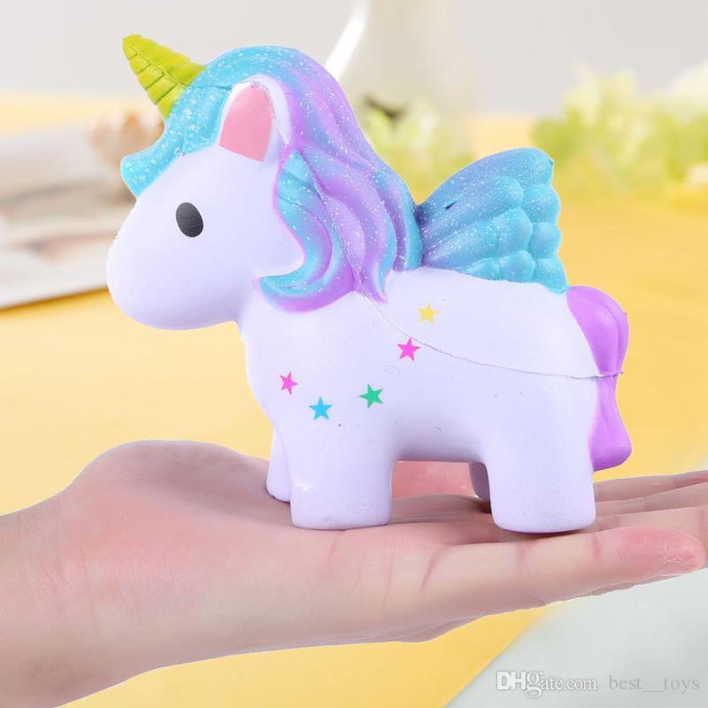 Squishy Toys Portachiavi Lento Rising Jumbo Kawaii Carino Colorato Unicorno Creamy Scent Bambini Giocattoli Party Giocattolo Antistress