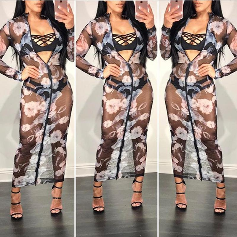 58def68bd56d Acquista 2018 Filato Netto Vestito Sexy Nero Sottile Spiaggia Trasparente  Cover Up Zipper Stampa Trasparente Bodycon Club Party Dress A  16.75 Dal  Fulary b ...