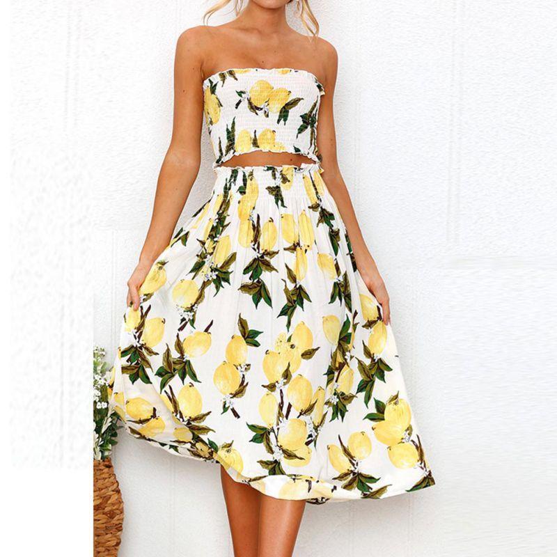 48c87d1421 Women's Summer Set Floral Sunflower Lemon Print Crop Tube Top and Midi  Skirt Set 2 Piece Suit