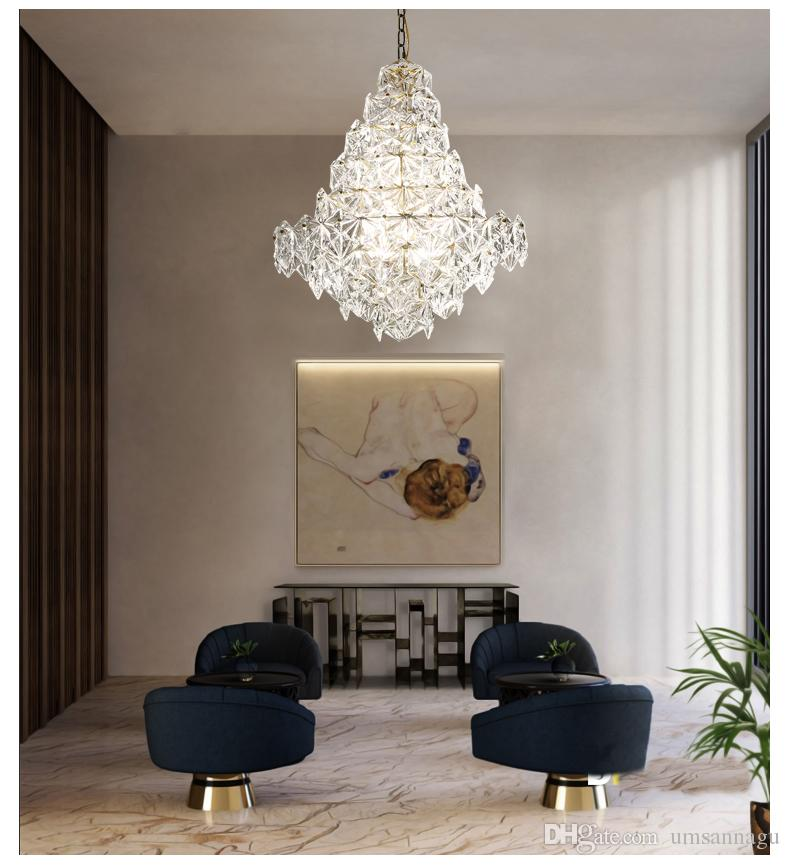 Modern Crystal Glass Chandeliers Lights Fixture American Chandelier LED Dimmable Lamps Restaurant Dining Room Bed Living Room Hanging Lamps