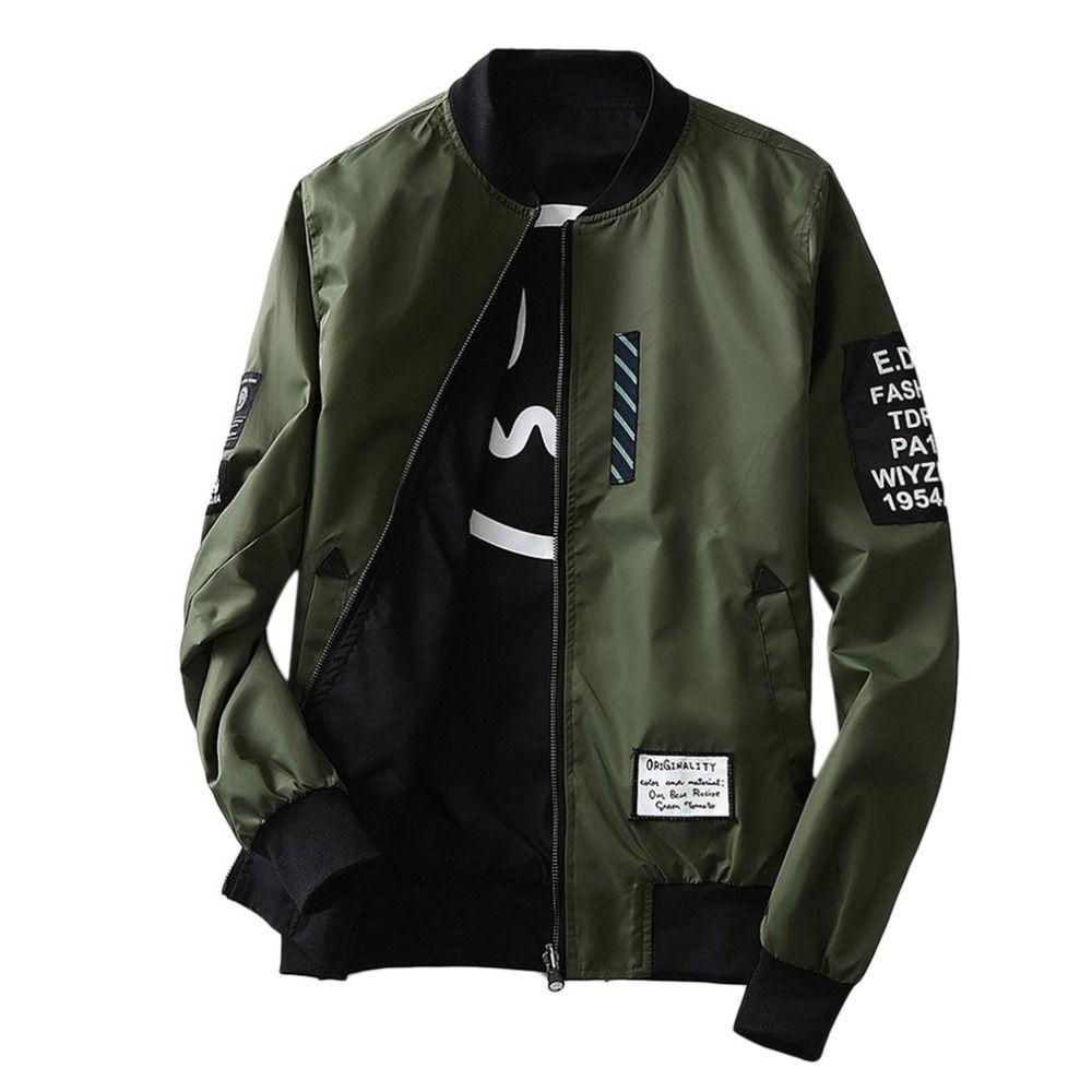 1806b87922c Bomber Jackets Men S Autumn Winter Stylish Overcoat Army Green Black Thin  Slim Fit Men Wind Breaker Plus Size Coat M 4L Spring Jacket Biker Leather  Jacket ...