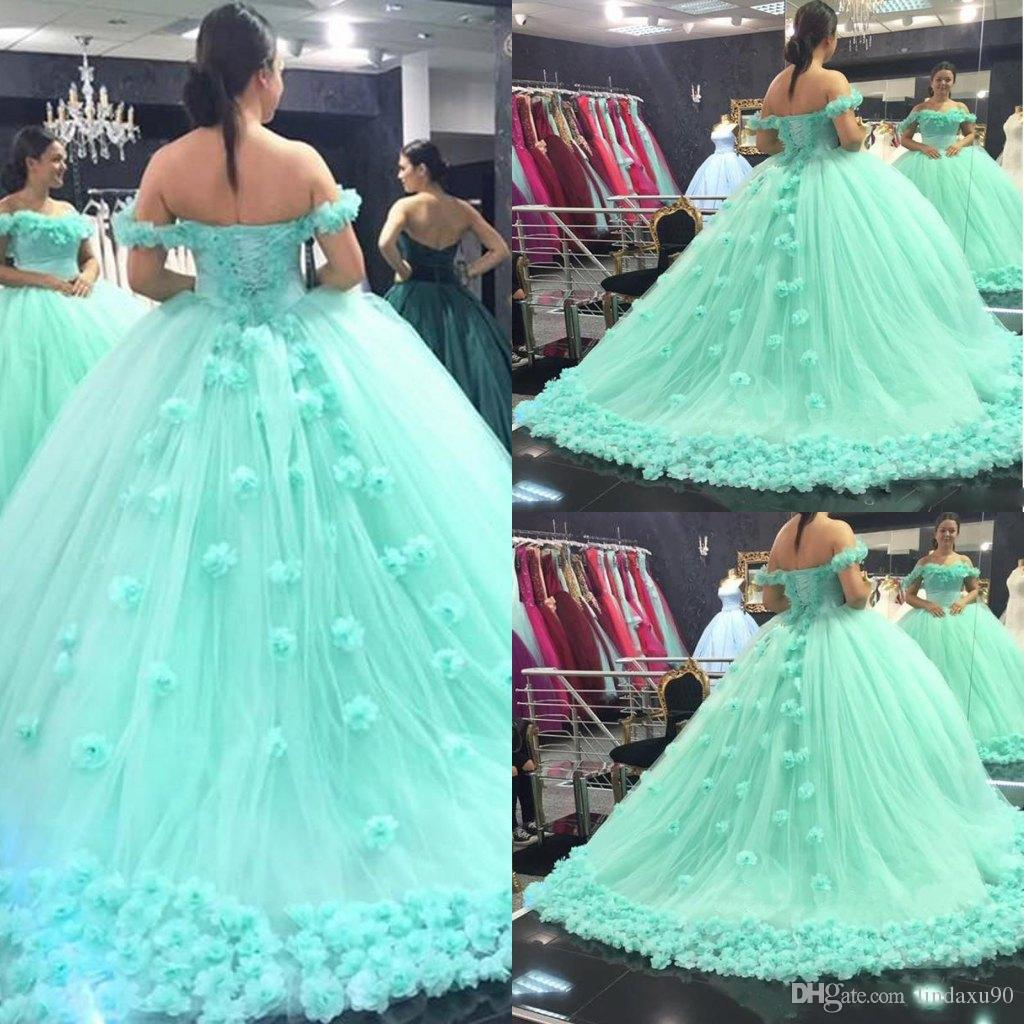 Light Green Ball Gown Quinceanera Dresses 2018 Off The Shoulder Sweet 16  Sweep Train Party Prom Princess Evening Gowns Vestidos De Quinceanera White  ... 5cd48483dec3
