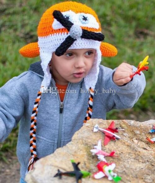 994bdc668290 Acheter Crochet Super Wings Tricoté Avion Cap Nouveau Né Infant Toddler Bébé  Garçons Filles Chapeaux Chapeau De Noël Enfants Enfants Bonnet Coton Photo  ...