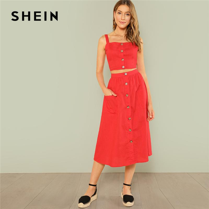 f5310e84bd 2019 SHEIN Red Elegant Buon Up Crop Straps Cami Top And Flare Skirt Set  Summer Women Women Casual Twopiece From Beke, $36.77 | DHgate.Com