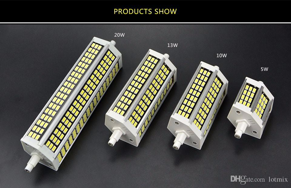 220V R7S LED Floodlight 5W 10W 13W 20W SMD 5736 78mm 118mm 135mm 189mm LED Faretto lampada Lampadina esterno quadrato Proiettore