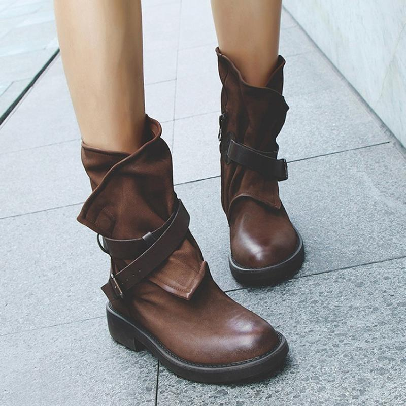 2046a2dc0d8 Vintage Boots Women Mid Calf Boots Soft Leather Shoes Autumn Winter  Motorcycle Flat zapatos de mujer