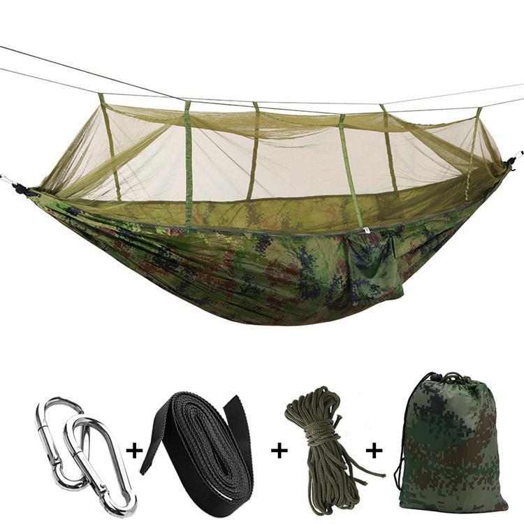 12 hamac portatif de couleurs 260 * 140cm avec le lit accrochant d'hamac de moustiquaire plié dans la poche pour le voyage T2I301