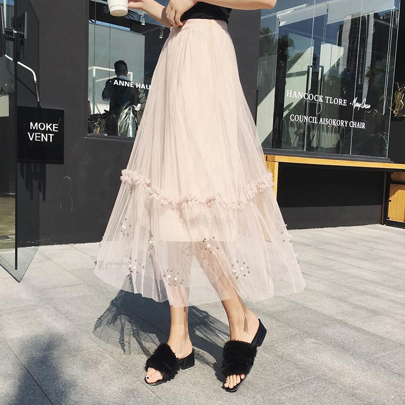 e4fb73682172ca 2018 Nouvelle Taille Haute Tulle Jupes De Mode Des Femmes De Perles Plissée  Jupe Longue Printemps Eté Femmes Vêtements Femme Jupe