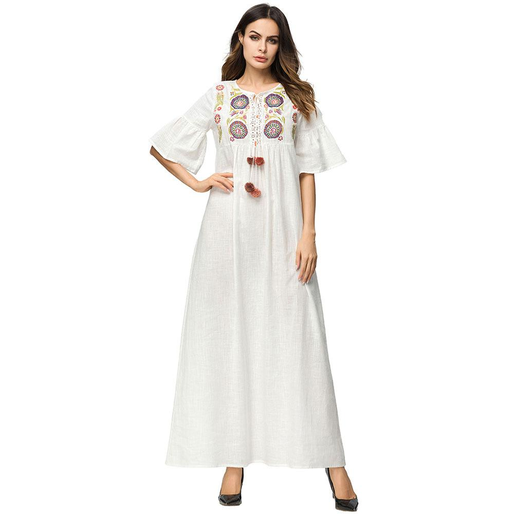 0994db8955 2019 3187127 European And American Industries Embroidered Cotton And Linen  Dress Muslim Straight Sleeve Women S Clothing Musulman Faldas Abaya From  Insino