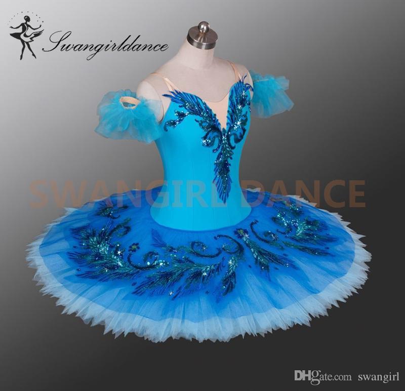 Pássaro azul variação tutu adulto meninas profissional ballet tutus azul traje de palco de balé clássico para mulheres panqueca tutu saiaBT9027