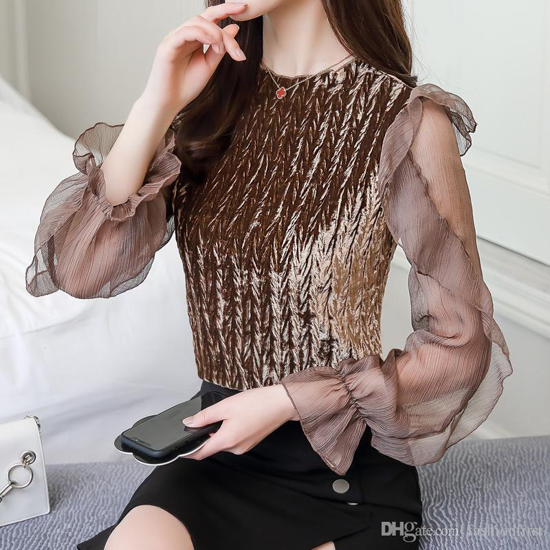 5f29b970b751d2 2019 Korean Women Ladies Chic Style Mesh Ruffle Bell Sleeve Velvet T ...