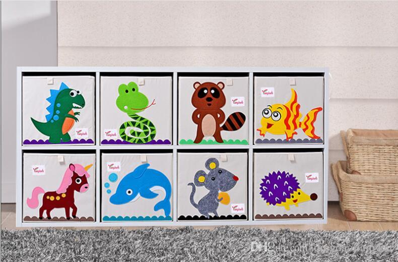 Hotsales 3D Embroidery Cartoon Animal Folding Storage Box Large Laundry Basket Sundries Children Clothes Toys Washable Storage organizer
