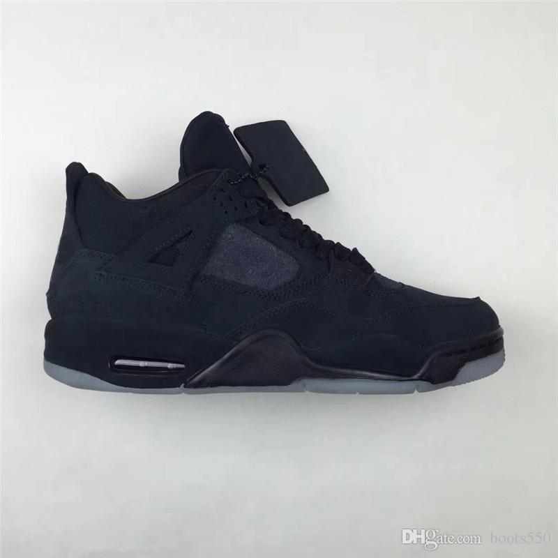 00b6007831bd 2018 4 XX Kaws Black 4S IV Basketball Shoes For Men Cool Grey Authentic  Quality Sneakers With Original Box 930155 001 Shaq Shoes Kd Basketball Shoes  From ...