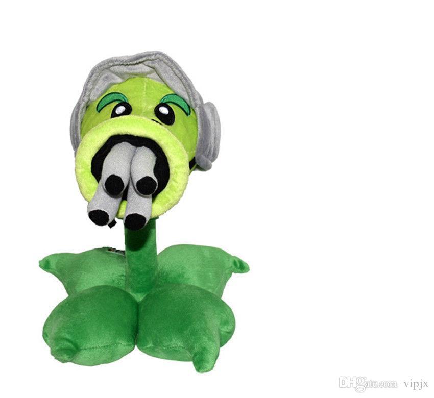 30cm Plants Vs Zombies Gatling Pea Peashooter Soft Plush Stuffed TOY DOLL tOY GIFT NEW