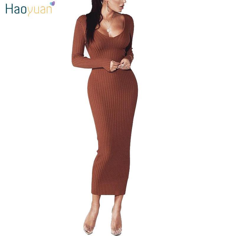 66d884c5af0 Großhandel Haoyuan Frau Herbst Winter Maxi Kleid V Ausschnitt Langarm Frauen  Kleider Bodycon Qualität Stretch Lange Strickpullover Kleid D18102902 Von  Tai01 ...
