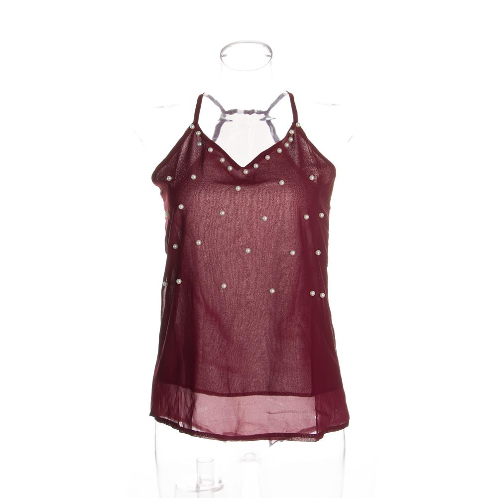 New Faux Pearl Embellished Cami Tank Top Summer Women Black Wine Red ... 47881e77e
