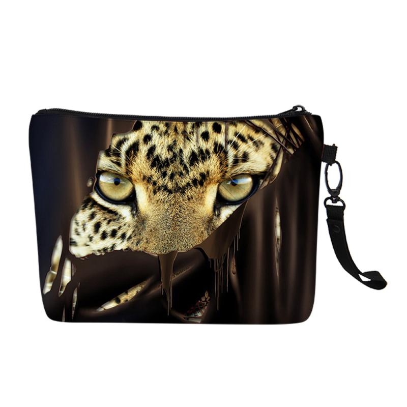 New Tiger Leopard Animals Customized Printing Women Canvas Cosmetic Bags Girls Travel Make Up Case Storage Clutch Christmas Gift