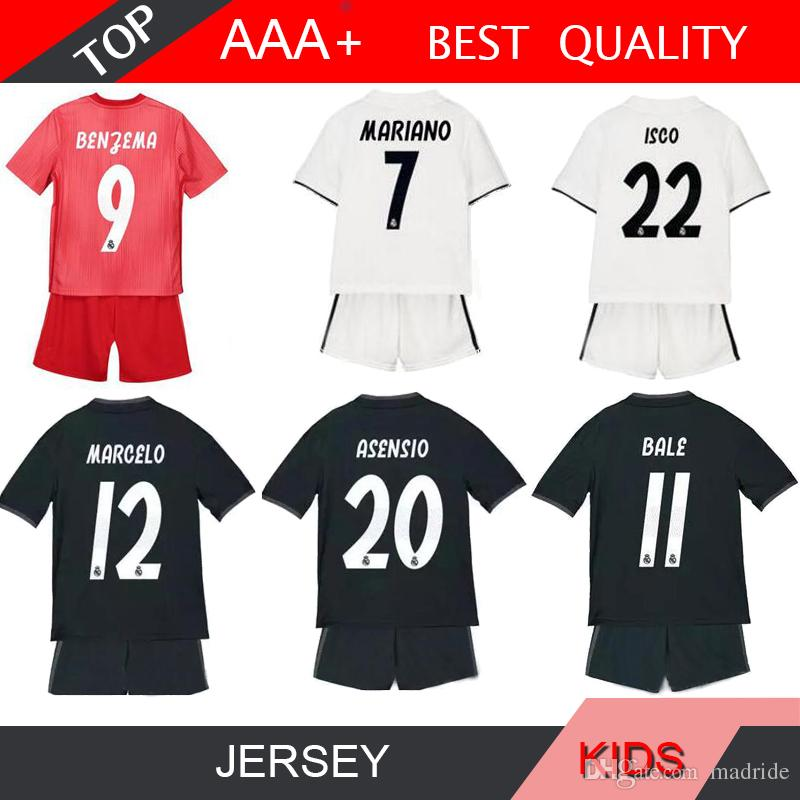 c29bff53c 2019 ASENSIO MARIANO 18 19 Real Madrid Kids Kit Soccer Jersey 2018 2019  Youth Boy Child RONALDO Modric KROOS ISCO BALE Football Jersey Shirt From  Madride, ...