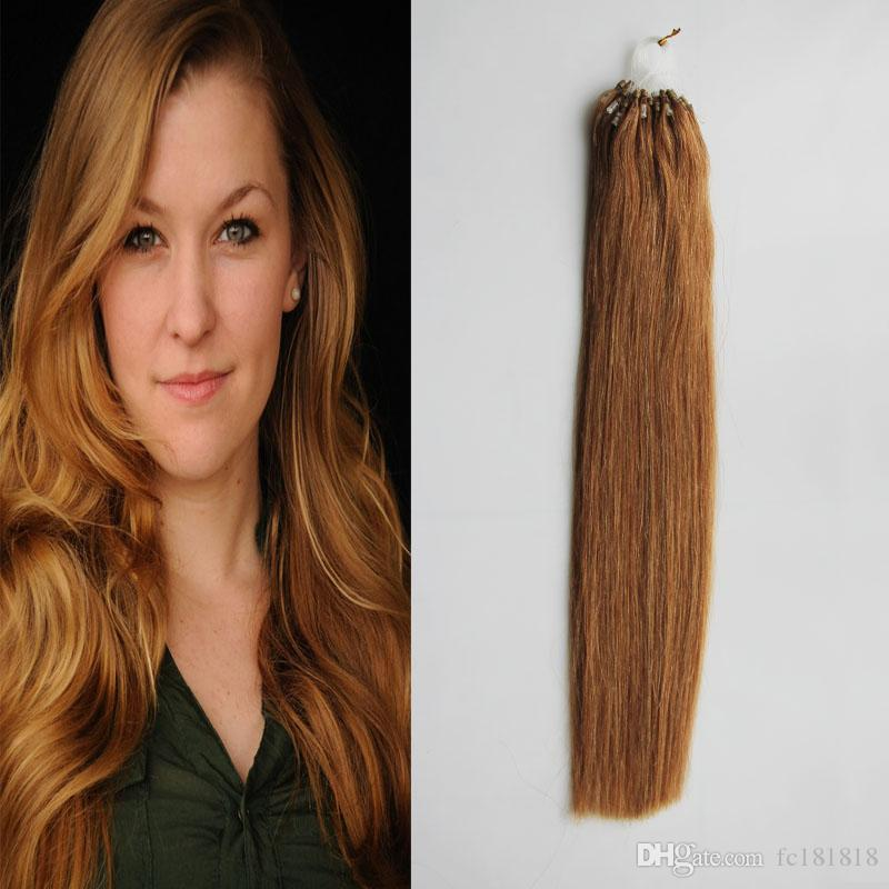 Brazilian Women Micro Loop Ring Hair Extension Straight Remy Micro