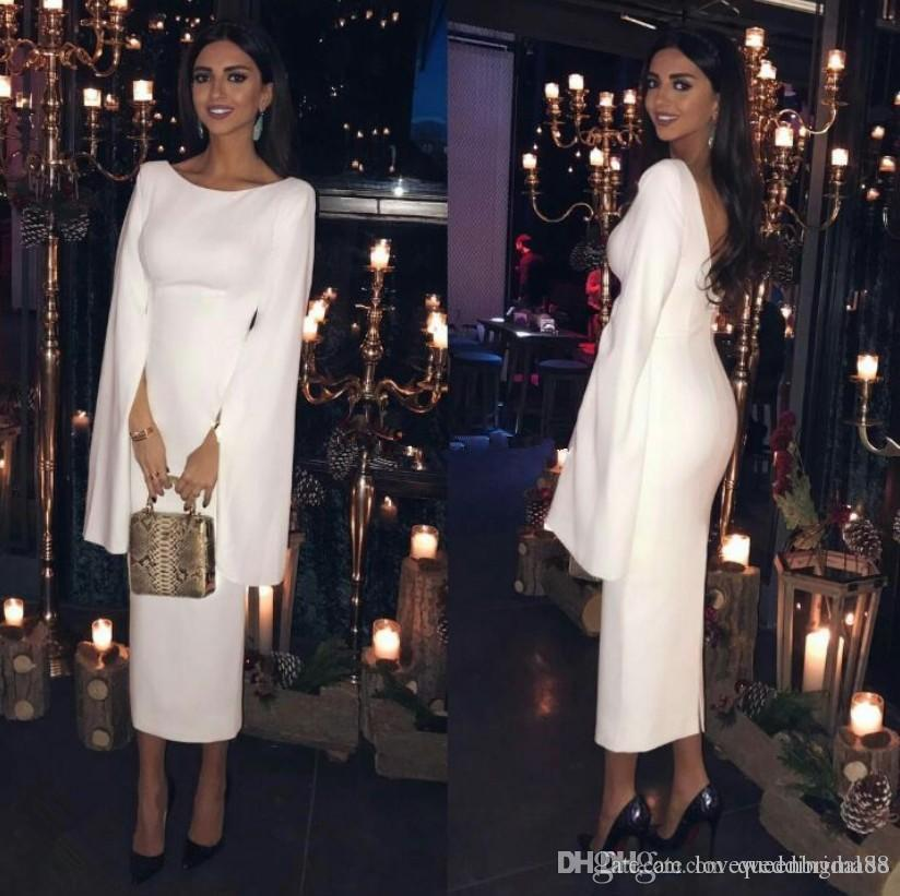 2019 Elegant Simple White Evening Dresses Long Sleeves Scoop Neck Sheath Tea Length Formal Party Gowns Cheap Vestidos