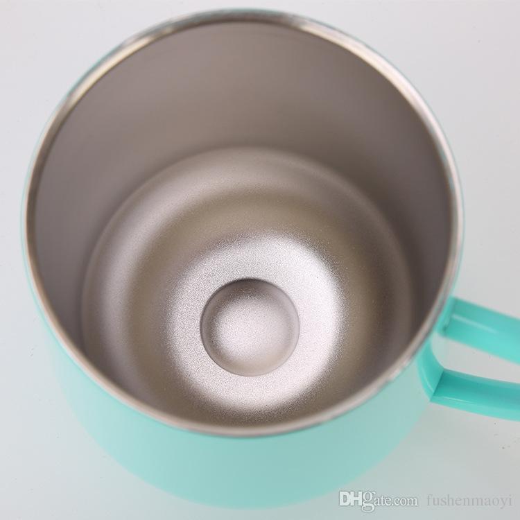 Copo de vinho isolado Caneca de café Durável Copos de aço inoxidável de aço inoxidável com tampa e handgrip parede dupla 12oz para Champaign, Cocktail, Cerveja, Escritório