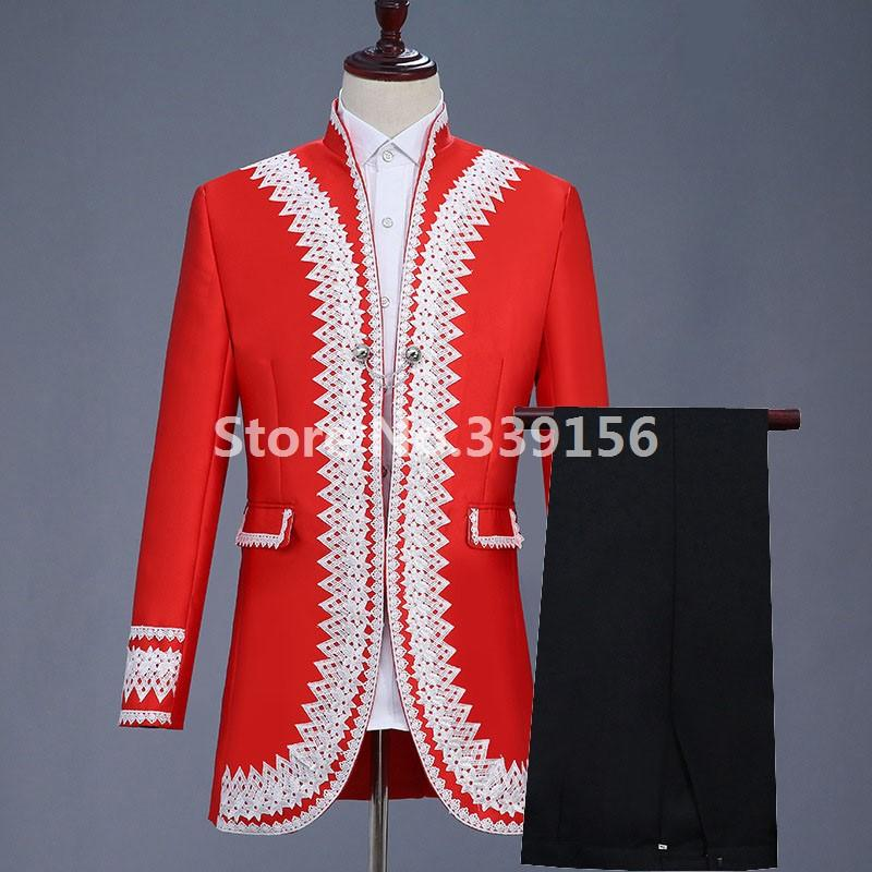 2019 Men S 18th Century Suit Jacket Red Historical Gentleman S Suit