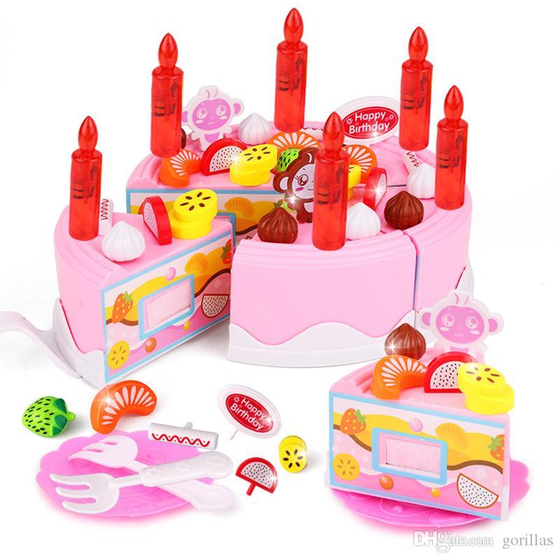 Birthday Cake DIY Model Children Kids Early Educational Pretend Play  Kitchen Food Plastic Toys Plastic Kitchen Cutting Toy Birthday Cake Pr
